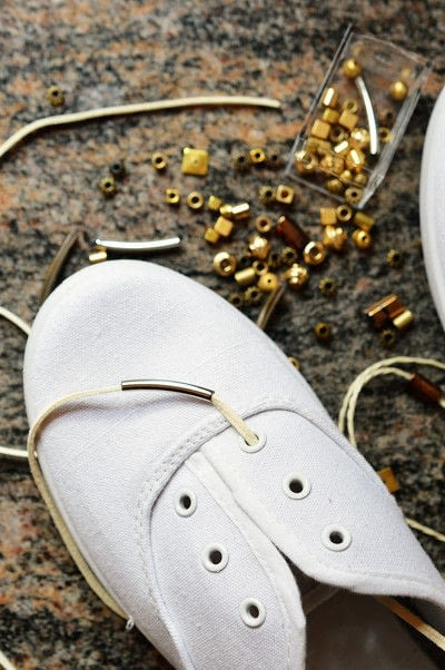 How to make a shoe lace. Beaded Shoelaces - Step 1