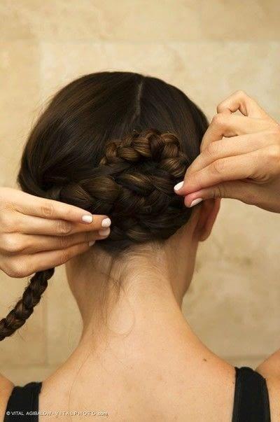 How to style a braided bun. Braided Low Bun - Step 3