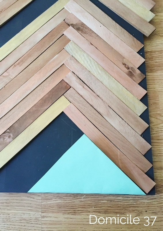 Create A Large Wall Art Using The Herringbone Pattern