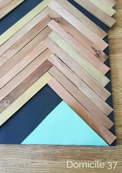 How to make a hanging. Create A Large Wall Art Using The Herringbone Pattern - Step 6