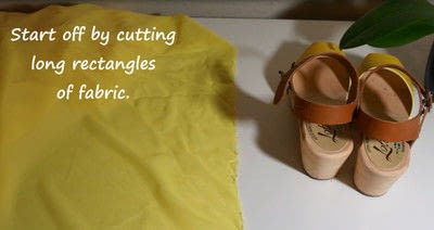How to make a sandal / flip flop. Revamped Ruffled Chiffon Shoes - Step 2