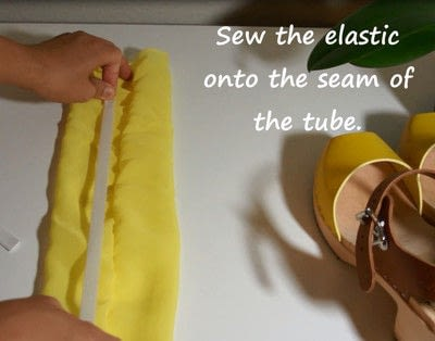 How to make a sandal / flip flop. Revamped Ruffled Chiffon Shoes - Step 8