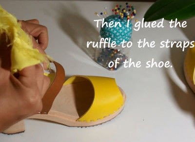 How to make a sandal / flip flop. Revamped Ruffled Chiffon Shoes - Step 11