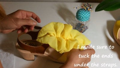 How to make a sandal / flip flop. Revamped Ruffled Chiffon Shoes - Step 12