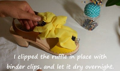 How to make a sandal / flip flop. Revamped Ruffled Chiffon Shoes - Step 13