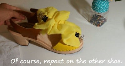 How to make a sandal / flip flop. Revamped Ruffled Chiffon Shoes - Step 14