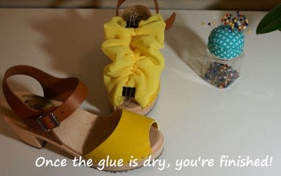 How to make a sandal / flip flop. Revamped Ruffled Chiffon Shoes - Step 15