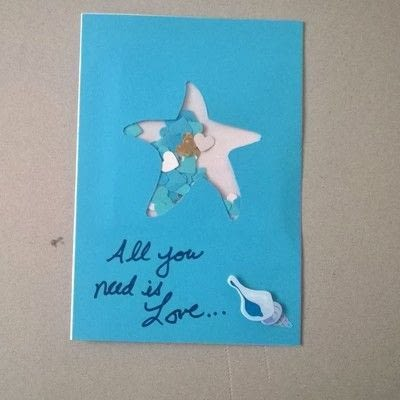 How to make a greetings card. Beachy Shaker Wedding Card - Step 6