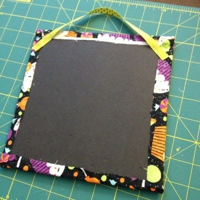 How to make a piece of textile art. Easy No-sew Fabric Sign  - Step 2