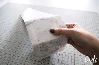 How to make a decoupage box. Marble Hexagon Box - Step 5