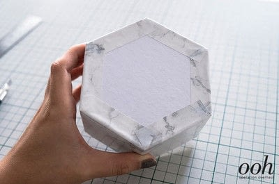 How to make a decoupage box. Marble Hexagon Box - Step 10