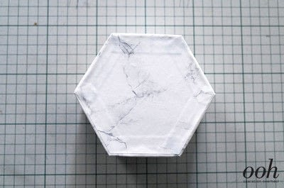 How to make a decoupage box. Marble Hexagon Box - Step 13