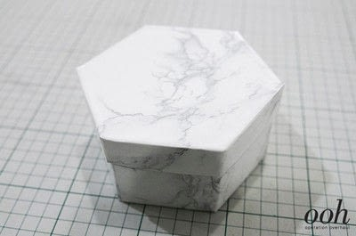 How to make a decoupage box. Marble Hexagon Box - Step 19