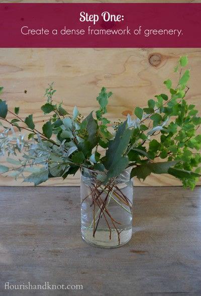 How to make a bouquet. An Autumnal Floral Arrangement - Step 1