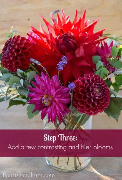 How to make a bouquet. An Autumnal Floral Arrangement - Step 3