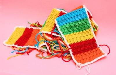 How to knit or crochet a stripy scarf. Rainbow Tart Candy Scarf - Step 4