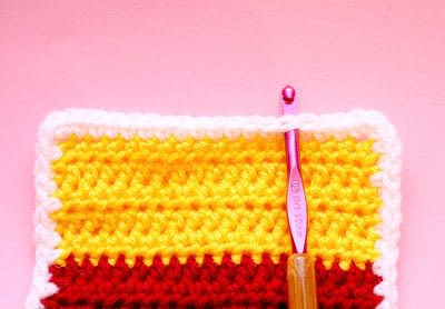 How to knit or crochet a stripy scarf. Rainbow Tart Candy Scarf - Step 5