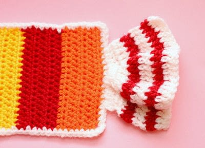 How to knit or crochet a stripy scarf. Rainbow Tart Candy Scarf - Step 6
