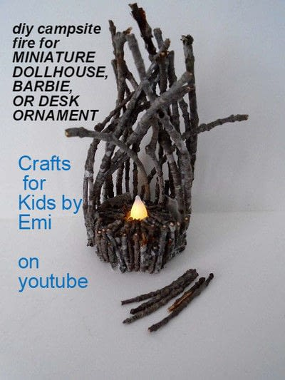 How to make a piece of doll furniture. Miniature Dollhouse Twig Campfire, With A Battery Operated Tea Light - Step 2