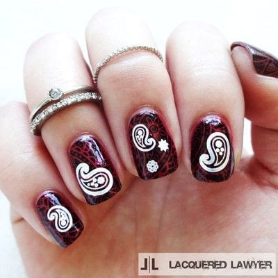 How to paint patterned nail art. Pristine Paisley - Step 3