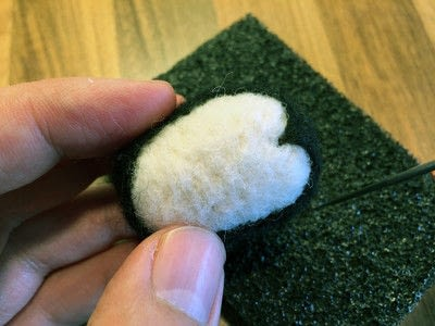 How to make a stitched charm. Needle Felted Penguin Charm - Step 9