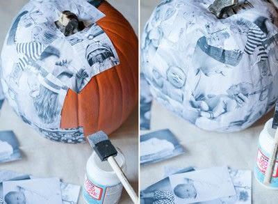 How to decorate a pumpkin. Decoupage Photo Pumpkin - Step 4
