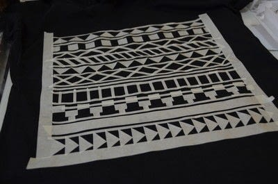How to embellish a t-shirt. T Shirt Aztec Pattern With Maskingtape - Step 1