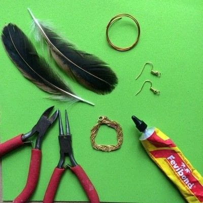 How to make a feather. Elegant Feather And Chain Ear Hooks - Step 1
