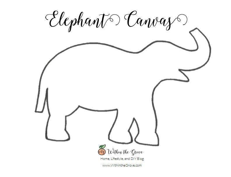 Elephant Stencil Trunk Up 30 Minute Elephant Can...