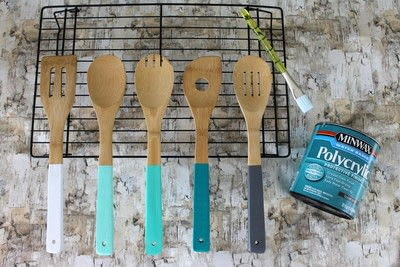 How to make a kitchen utensil. Painted Kitchen Utensils  - Step 8