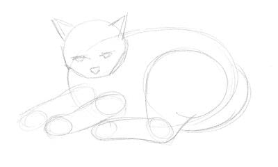 How to draw & paint a piece of animal art. Draw A Cat In Fifteen Minutes - Step 2