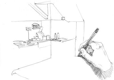 How to make a drawing. A Simple Line Drawing Of A Room - Step 2