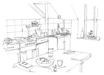 How to make a drawing. A Simple Line Drawing Of A Room - Step 3