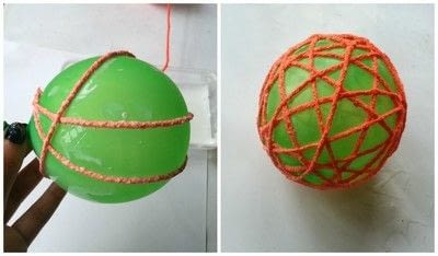 How to make a piece of seasonal decor. Diy Decorative Yarn Balls - Step 3