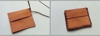 How to sew a leather pouch. Diy Simple Leather Coin Pouch - Step 4