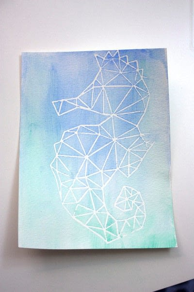 How to paint a piece of watercolor art. DIY Watercolor Art with a Contact Paper Stencil! - Step 6