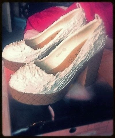 How to revamp a pair of revamped shoes. Ice Cream Shoes - Step 4