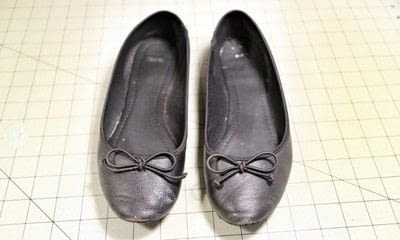 How to make a pair of fabric covered shoes. Seamstress Flats - Step 1
