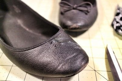 How to make a pair of fabric covered shoes. Seamstress Flats - Step 2