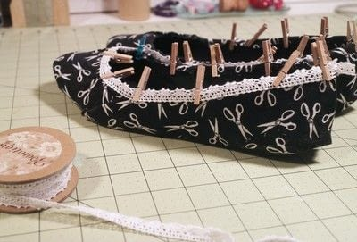 How to make a pair of fabric covered shoes. Seamstress Flats - Step 17