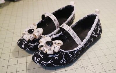 How to make a pair of fabric covered shoes. Seamstress Flats - Step 29