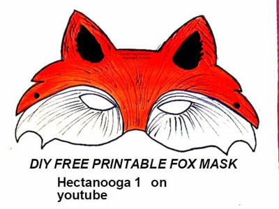 How to draw & paint a piece of animal art. Free Printable, Fox Mask - Step 1