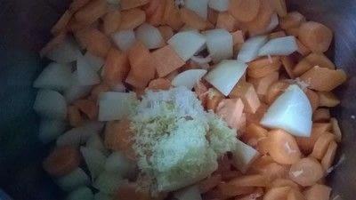 How to cook a potato soup. Sweet Potato & Coconut Soup - Step 2