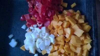How to cook vegetable soup. Roasted Vegetable Soup - Step 1