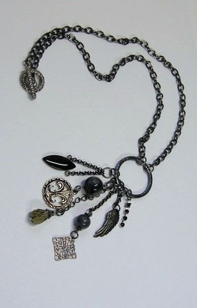 How to make a charm necklace. Assemblage Necklace - Step 6