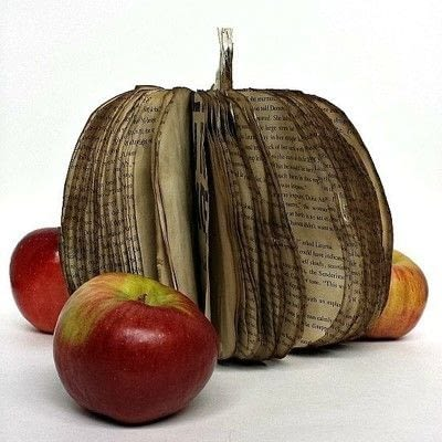 How to make a piece of book art. Fall Book Pumpkin - Step 13