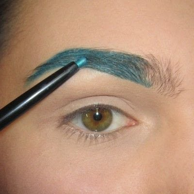 How to makeover an eyebrow. Turquoise/Teal Colored Brows - Step 2