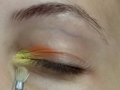 How to create a two toned eye makeup look. Everybody Hate's Orange - Step 1