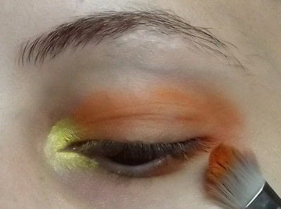 How to create a two toned eye makeup look. Everybody Hate's Orange - Step 2