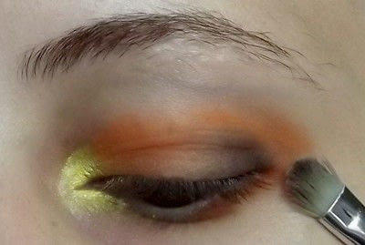 How to create a two toned eye makeup look. Everybody Hate's Orange - Step 3